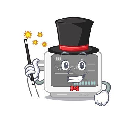 Magician ecg machine in the mascot shape vector illustration Illusztráció