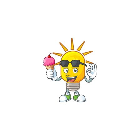 With ice cream icon lamp cartoon character with mascot vector illustration Illusztráció
