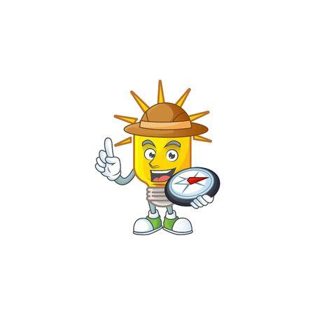 Explorer lamp yellow with cartoon character shape. vector illustration