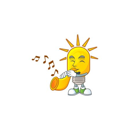With trumpet lamp yellow with cartoon character shape. vector illustration Ilustração