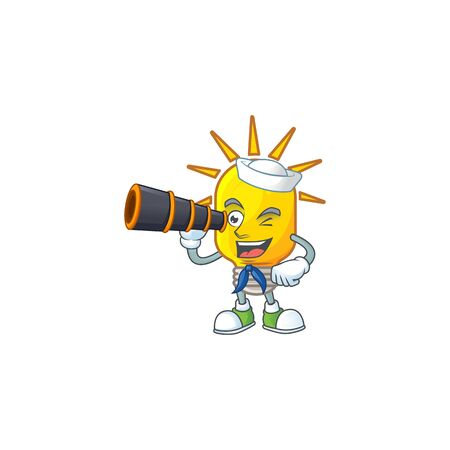 Sailor with binocular lamp yellow with cartoon character shape. vector illustration