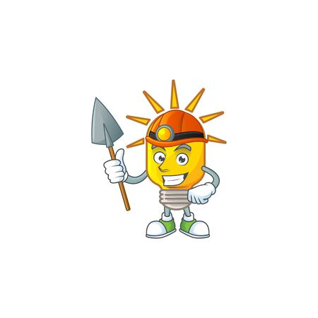 Miner lamp yellow with cartoon character shape. vector illustration