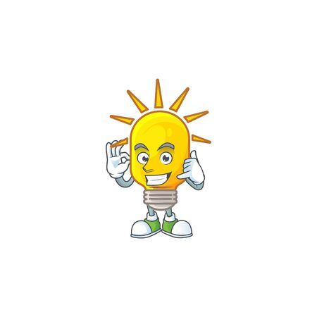 Call me lamp icon cartoon on white background. vector illustration Stock Illustratie