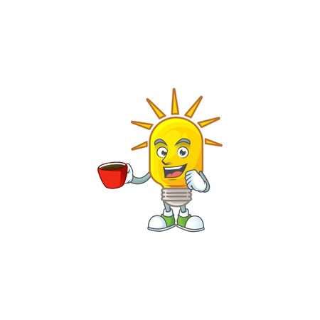 Drinking in cup icon lamp cartoon character with mascot vector illustration