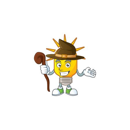 Witch lamp yellow with cartoon character shape. vector illustration