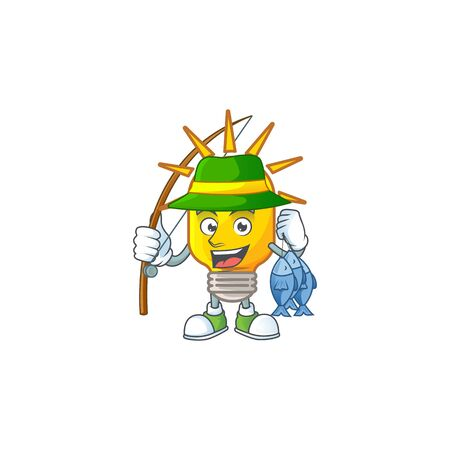 Fishing lamp yellow with cartoon character shape. vector illustration
