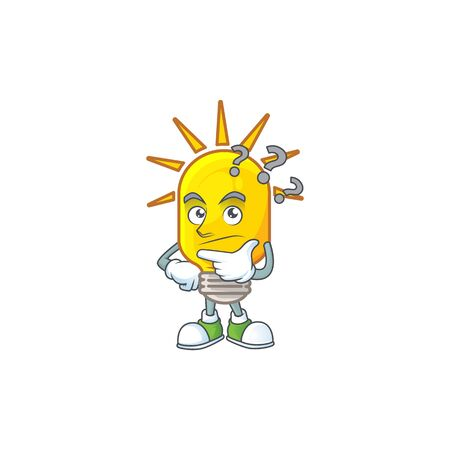 Thinking lamp yellow with cartoon character shape. vector illustration Çizim