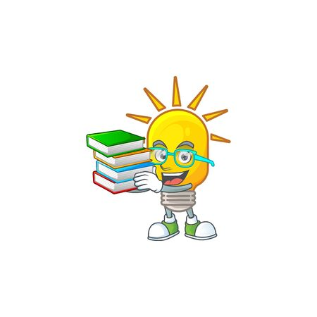 Student with book lamp icon cartoon on white background. vector illustration Çizim