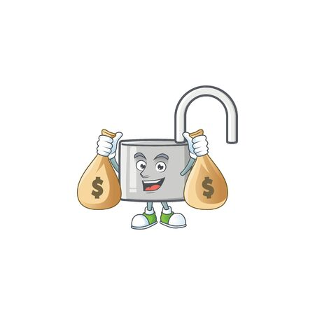 With money bag unlock key with cartoon character design. vector illustration Ilustração