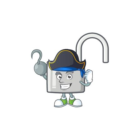 Pirate unlock key with cartoon character design. vector illustration
