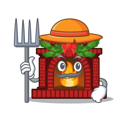 Farmer christmas fireplace isolated with the mascot Illustration