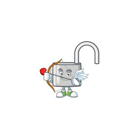 Cupid unlock key with cartoon character design. vector illustration