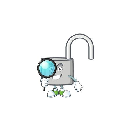 Detective unlock key icon in the character vector illustration