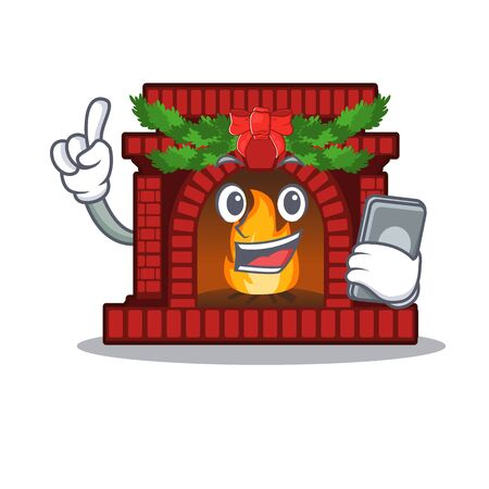 With phone christmas fireplace isolated with the mascot