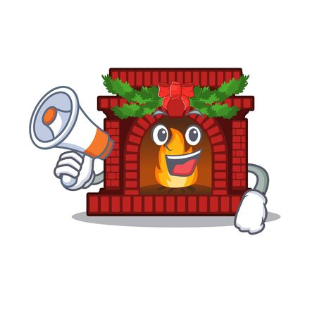 With megaphone christmas fireplace isolated with the mascot