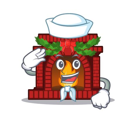 Sailor christmas fireplace isolated with the mascot Ilustração