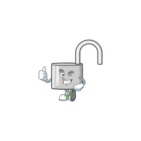 Thumbs up unlock key icon in the character vector illustration Ilustração