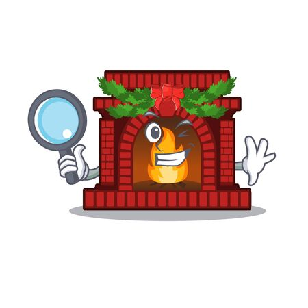 Detective christmas fireplace in the cartoon shape Ilustrace