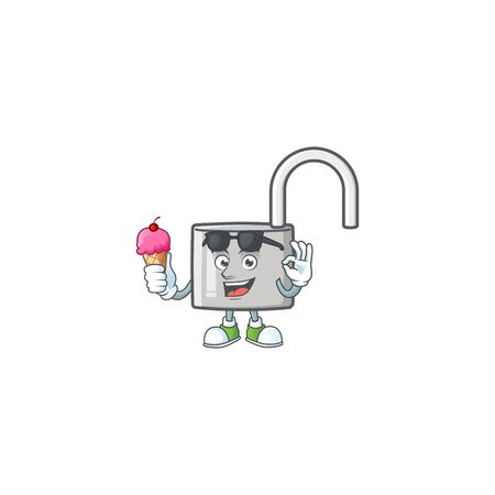 With ice cream unlock key icon in the character vector illustration