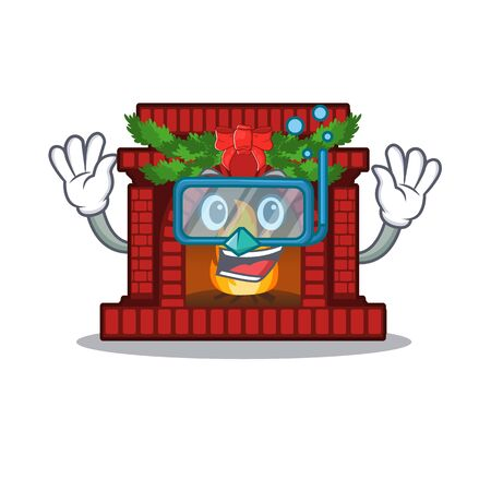 Diving christmas fireplace in the cartoon shape Çizim