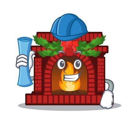 Architect christmas fireplace in the cartoon shape