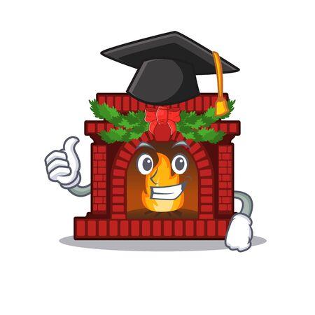 Graduation christmas fireplace in the cartoon shape