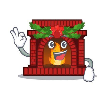 Okay christmas fireplace in the cartoon shape