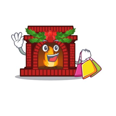Shopping christmas fireplace in the cartoon shape Illustration