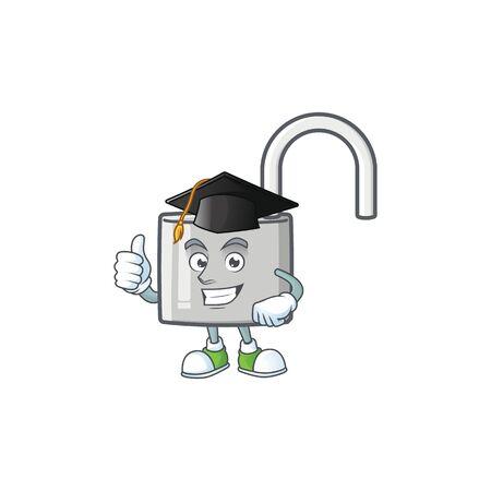 Graduation unlock key icon in the character vector illustration