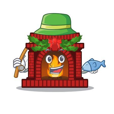 Fishing christmas fireplace on of cartoon table  イラスト・ベクター素材