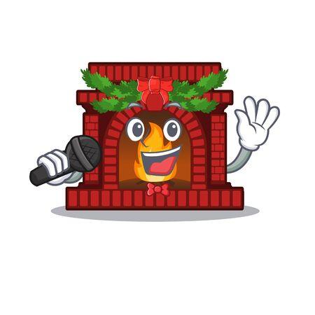 Singing christmas fireplace on of cartoon table Çizim