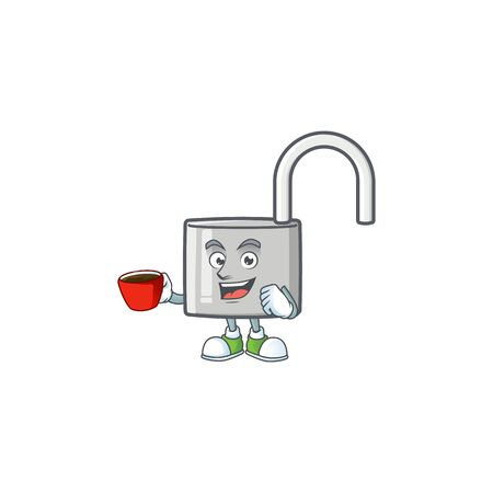 Drinking in cup unlock key icon in the character vector illustration Stock Illustratie