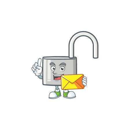 With envelope unlock key icon in the character vector illustration 向量圖像