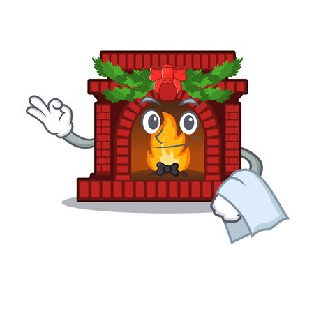 Waiter christmas fireplace on of cartoon table