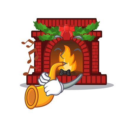 With trumpet christmas fireplace on of cartoon table  イラスト・ベクター素材