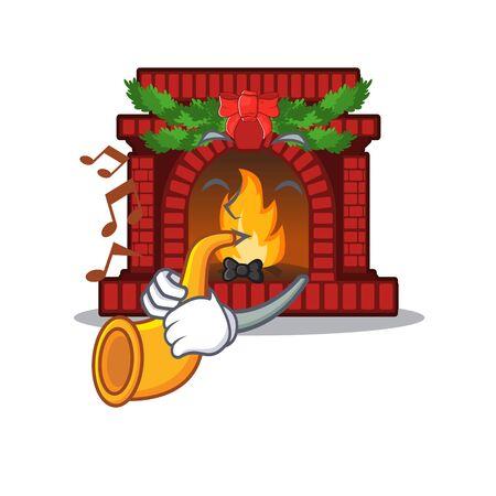 With trumpet christmas fireplace on of cartoon table Ilustração