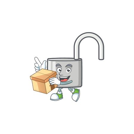 With box unlock key icon in the character vector illustration