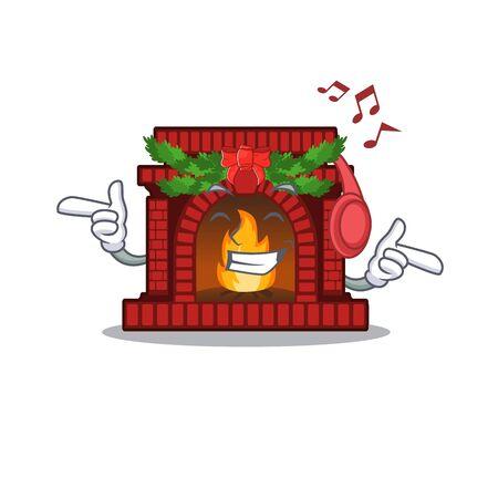 Listening music christmas fireplace on of cartoon table Çizim