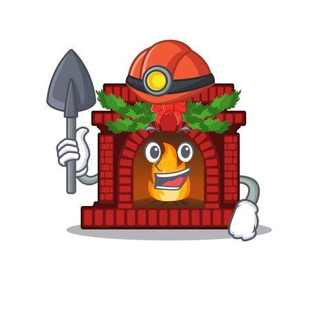 Miner christmas fireplace on of cartoon table Ilustração