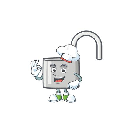 Chef unlock key icon in the character vector illustration