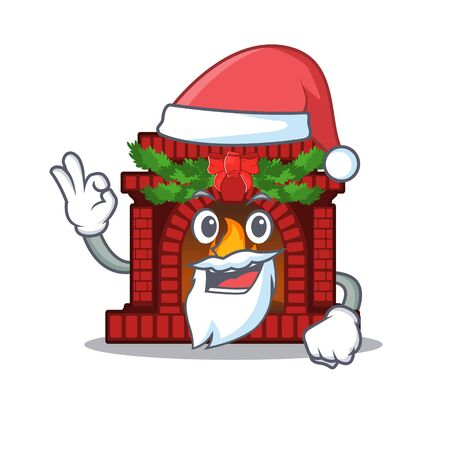 Santa christmas fireplace on with the character Illustration