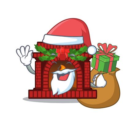 Santa with gift christmas fireplace on with the character Çizim