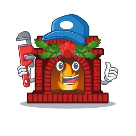 Plumber christmas fireplace on with the character