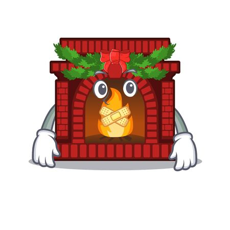Silent christmas fireplace on with the character  イラスト・ベクター素材