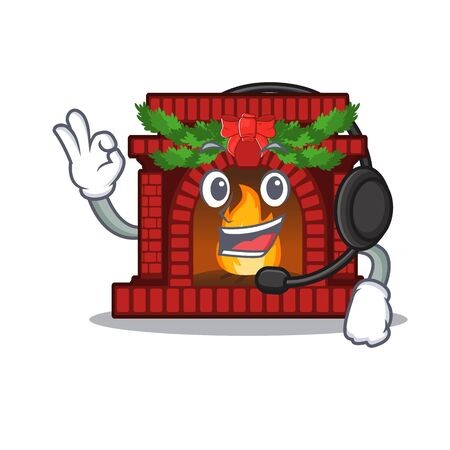 With headphone christmas fireplace on with the character Çizim