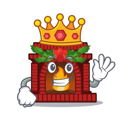 King christmas fireplace on with the character Stock Illustratie