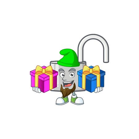 Bring two gifts silver unlock key on white background. vector illustration