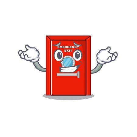 Grinning emergency exit door isolated the cartoon