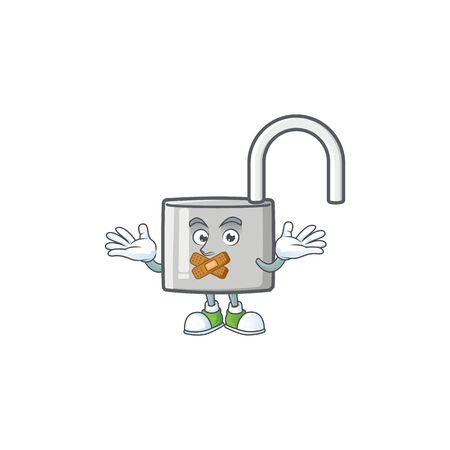 Silent silver unlock key on white background. vector illustration Ilustração