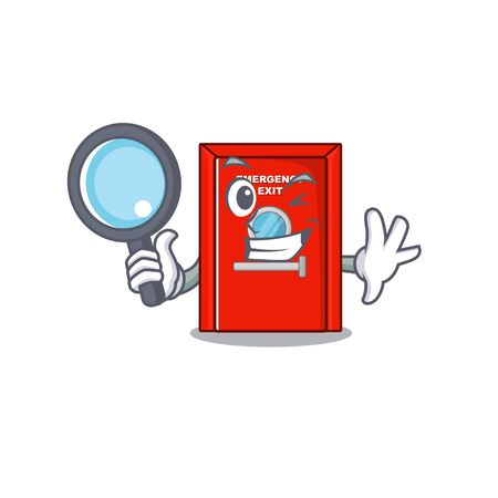 Detective emergency exit door isolated the cartoon